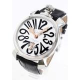 ガガミラノ コピー腕時計マニュアーレ48mm 手巻き スモールセコンド レザー ブラック/シルバー メンズ 5010.07S