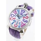 ガガミラノ 腕時計コピーマニュアーレ48mm 手巻き スモールセコンド レザー ライトパープル/ホワイト メンズ 5010.09S