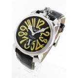 ガガミラノ コピー腕時計マニュアーレ48mm 手巻き スモールセコンド レザー ブラック メンズ 5010.12S