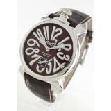 ガガミラノ腕時計コピー マニュアーレ48mm 手巻き スモールセコンド レザー ダークブラウン メンズ 5010.13S