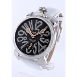 ガガミラノコピー腕時計 マニュアーレ48mm 手巻き レザー ホワイト/ブラック メンズ 5010.6
