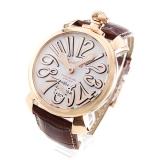 ガガミラ腕時計コピーノ マニュアーレ48mm 手巻き スモールセコンド レザー ブラウン/PGPホワイト メンズ 5011.08S