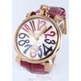 ガガミラノコピー腕時計 マニュアーレ48mm 手巻き スモールセコンド レザー ピンク/シルバー メンズ 5011.9