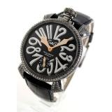 ガガミラノコピー腕時計 マニュアーレ48mm 手巻き ダイヤ&ブラックダイヤモンド レザー ブラック メンズ 5012.1D.6