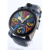ガガミラノ 腕時計コピーマニュアーレ48mm 手巻き スモールセコンド レザー ブルー メンズ 5016.4