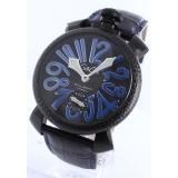 ガガミラノ 腕時計コピーマニュアーレ48mm スモールセコンド レザー カーボンブラック メンズ 5016.7