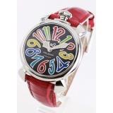 ガガミラノ 腕時計コピーマニュアーレ40mm レザー レッド/ブラックシェル ボーイズ 5020.2