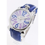 ガガミラノ腕時計コピー マニュアーレ40mm レザー ブルー/ホワイトシェル ボーイズ 5020.3