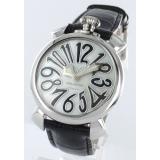 ガガミラノ腕時計コピー マニュアーレ40mm レザー ブラック/ホワイトシェル ボーイズ 5020.5