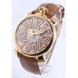 ガガミラノ コピー腕時計マニュアーレ40mm レザー ブラウン/GPホワイトシェル ボーイズ 5021.2