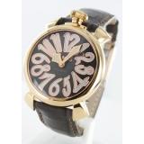 ガガミラノ腕時計コピー マニュアーレ40mm レザー ダークブラウン/GPブラックシェル ボーイズ 5021.3