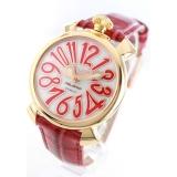 ガガミラノ腕時計コピー マニュアーレ40mm レザー レッド/GPホワイトシェル ボーイズ 5021.5