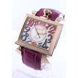 ガガミラノ ナポレオーネ48mm 時計コピーオートマチック レザー ピンク/PGPホワイトシェル メンズ 6001.1