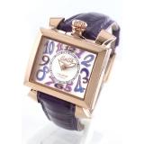 人気腕時計ガガミラノ ナポレオーネ40mm レザー ピンク/PGPホワイトシェル ボーイズ 6031.1