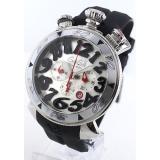 ガガミラノ 時計コピークロノ48mm ラバー ブラック/シルバー メンズ 6050.7