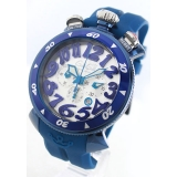ガガミラノコピー腕時計 クロノ48mm ラバー ブルー/シルバー メンズ6053.1