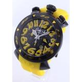 ガガミラノ 時計コピークロノ48mm ラバー イエロー/ブラック メンズ 6054.4