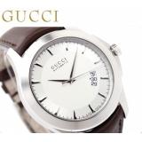 グッチ 時計 偽物メンズ Gタイムレス 自動巻き シルバー ブラウンレザー GUCCI YA126216