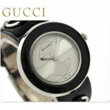 グッチ 時計コピー レディース Uプレイ シルバー ブラックレザー GUCCI YA129401