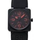 ベル&ロス 腕時計コピー BR01-92 RED ブラックコーティング 黒文字盤 レザー