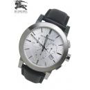 バーバリー時計コピー BU9355シルバーブラックベルトクロノグラフ メンズ