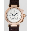 カルティエ 腕時計コピー パシャ 42mm クロノグラフ W3019951 PG/ブラウン革 シルバー