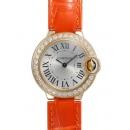 カルティエ時計コピー バロンブルーWE900151 SM 18KYG シルバー文字盤 クォーツ レザー