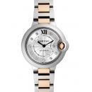 カルティエ 時計コピー バロンブルー 新品WE902044 シルバーギョーシェ11Pダイヤ