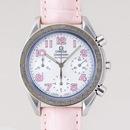 OMEGAオメガ コピー スピードマスター ピンク革 ホワイトシェルピンクアラビア 3834.74.34
