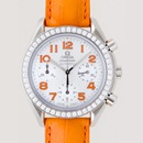 OMEGAオメガ コピー スピードマスター ダイヤベゼル オレンジ革 ホワイトシェルオレンジアラビア 3835.78.38