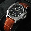 PANERAIパネライ ルミノールスーパー時計コピーGMT ブラックダイアル ブラウンレザーPAM00244